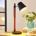 Bordlampe Birte, sort med træelement