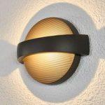 Mørkegrå, rund LED udendørs væglampe Meyra