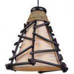 Dekorativ hængelampe Romy, med træ