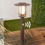 LED sokkellampe Pavlos i rust, bevægelsessensor