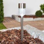 LED solcellelampe Maarten, rustfrit stål, 10 stk.