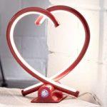 Hjerteformet LED-bordlampe Valentin i rød