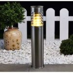Sokkellampe Enja i rustfrit stål, m. lameller