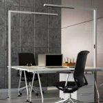 Kontor LED gulvlampe Jolinda med dæmper, sølv