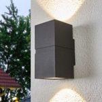Mørkegrå LED udendørs væglampe Gabriela 2lyskilder