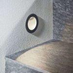 LED-vægindbygningslampe Pordis, IP65, rund