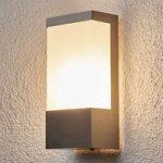 Firkantet udendørsvæglampe Kirana, rustfrit stål