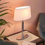 Elegant bordlampe Akita med hvid stofskærm