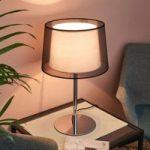Elegant bordlampe Thedo med stofskærm