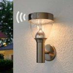 LED solcellelampe Lenjo, udendørs i rustfrit stål