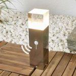 LED sokkellampe Nerius i rustfrit stål med sensor