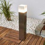 Firkantet LED sokkellampe Nerius, rustfrit stål