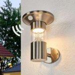 LED solcelle væglampe Jalisa rustfrit stål, sensor