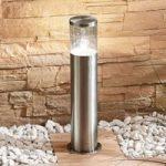 Sokkellampe Hanneli af rustfrit stål, rund